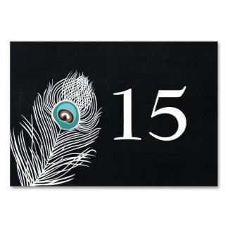 Vintage Chalkboard peacock wedding table numbers Table Cards