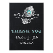 Vintage Chalkboard peacock wedding Thank You Card
