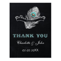 Vintage Chalkboard peacock wedding Thank You Postcard