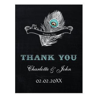 Vintage Chalkboard peacock wedding Thank You Postcard