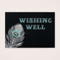Vintage Chalkboard peacock wedding wishing well Business Card