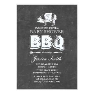 Vintage Chalkboard Pig Roast Baby Shower BBQ Party 5x7 Paper Invitation Card