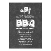Vintage Chalkboard Pig Roast Baby Shower BBQ Party Invitation