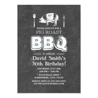 Vintage Chalkboard Pig Roast BBQ Birthday Party Card