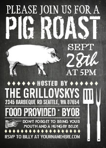 pig roast invitations zazzle