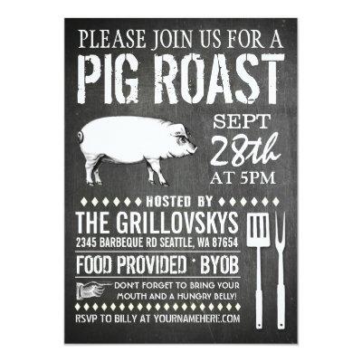 Chalkboard Vintage Pig Roast Invitation Zazzle Com