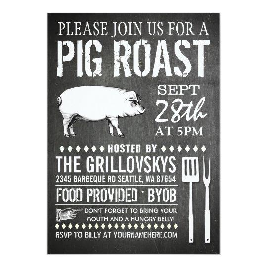 Vintage Chalkboard Pig Roast Invitation | Zazzle