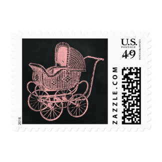Vintage Chalkboard Pink Baby Carriage Baby Shower Postage Stamps