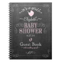 Vintage Chalkboard Pink Baby Shower Guest Book- Notebook