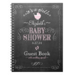 Vintage Chalkboard Pink Baby Shower Guest Book- Spiral Notebook at Zazzle