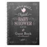 Vintage Chalkboard Pink Baby Shower Guest Book- Spiral Notebook