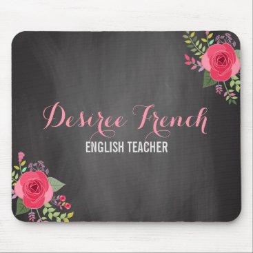 Professional Business Vintage Chalkboard Pink Floral Wreath  | Monogram Mouse Pad