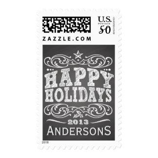 Vintage Chalkboard Pub Sign Happy Holidays Stamp