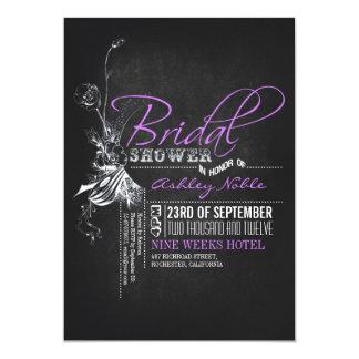 Vintage Chalkboard Purple Bridal Shower Invites