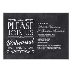 Vintage Chalkboard Rehearsal Dinner Card
