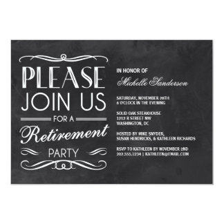 Vintage Chalkboard Retirement Party 5x7 Paper Invitation Card