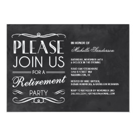 Vintage Chalkboard Retirement Party Card