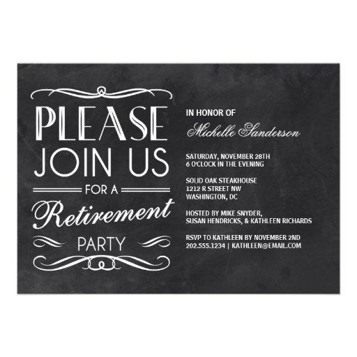Vintage Chalkboard Retirement Party Cards