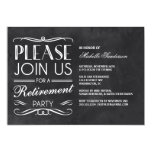 "Vintage Chalkboard Retirement Party 5"" X 7"" Invitation Card"