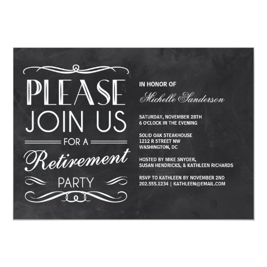 vintage chalkboard retirement party invitation