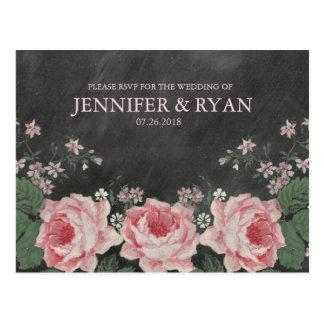 Vintage Chalkboard Rose RSVP Postcard