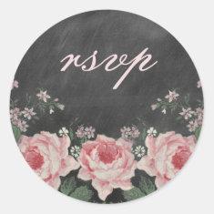 Vintage Chalkboard Rose RSVP Sticker
