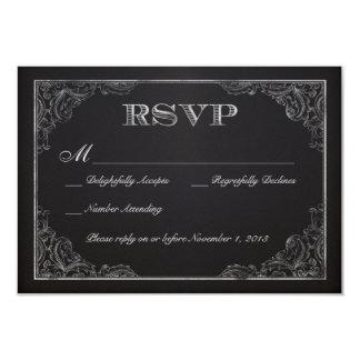 "Vintage Chalkboard RSVP 3.5"" X 5"" Invitation Card"