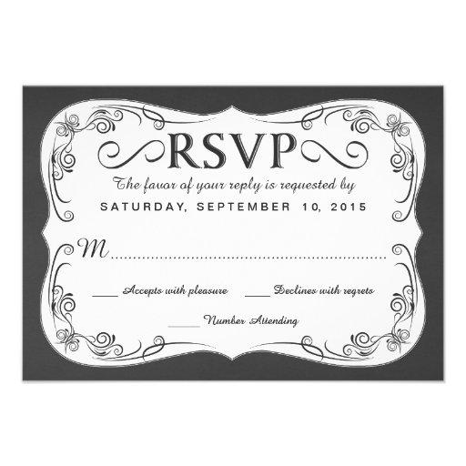 Vintage Chalkboard RSVP Wedding Reply Cards