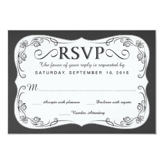 Vintage Chalkboard RSVP Wedding Reply Cards Personalized Invites