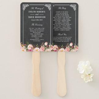 Vintage Chalkboard Rustic Floral Wedding Program Hand Fan