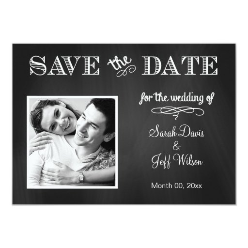 Vintage Chalkboard Save the Date Photo Card
