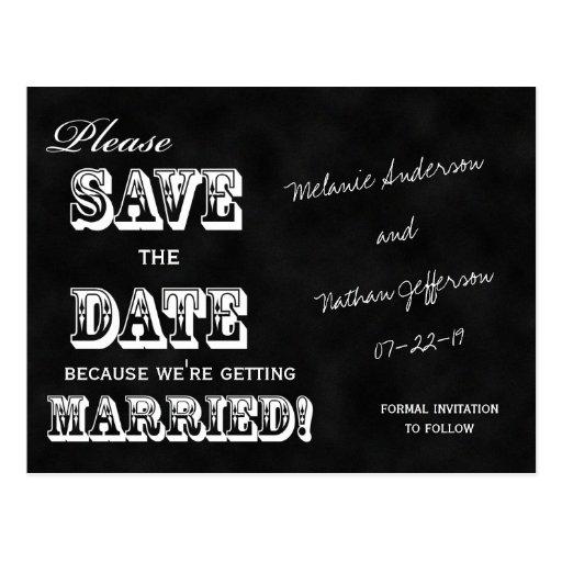 Vintage Chalkboard Save the Date Postcard