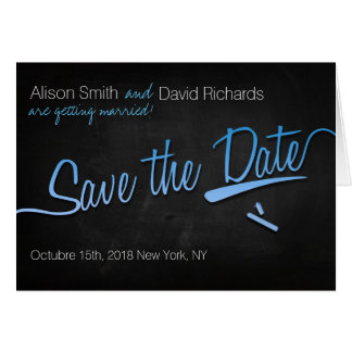 Vintage chalkboard Save the dates + lightblue Card