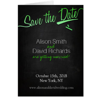 Vintage chalkboard Save the dates with green chalk Card