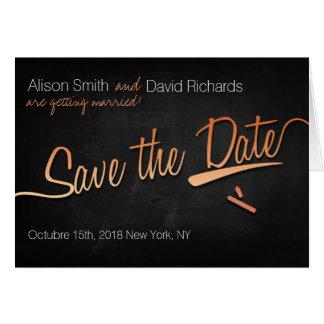 Vintage chalkboard Save the dates with orange Card