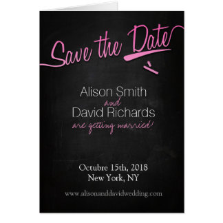 Vintage chalkboard Save the dates with pink chalk Card