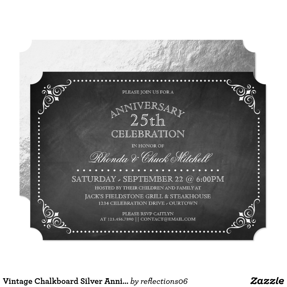 Vintage Chalkboard Silver Anniversary Party Invitation