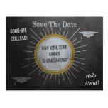Vintage Chalkboard Star Burst Graduation Save Postcard