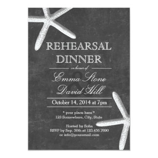 "Vintage Chalkboard Starfish Rehearsal Dinner 5"" X 7"" Invitation Card"