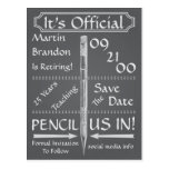 Vintage Chalkboard Style Retirement Save The Date Postcard