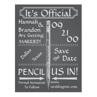 Vintage Chalkboard Style Save The Date / Invite Postcard
