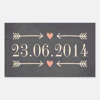 Vintage Chalkboard Style Wedding Day Design Rectangular Sticker