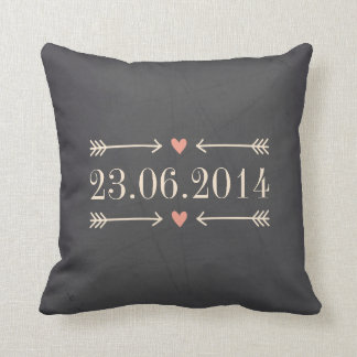Vintage Chalkboard Style Wedding Day Design Throw Pillow