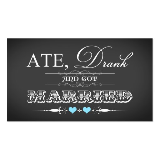 Vintage Chalkboard Style Wedding Favor Tag Double-Sided Standard Business Cards (Pack Of 100)