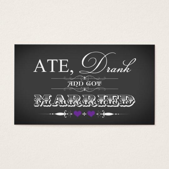 Vintage Chalkboard Style Wedding Favor Tag Purple
