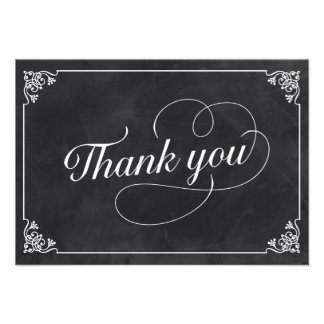 Vintage Chalkboard Thank You Invitation