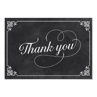 "Vintage Chalkboard Thank You 3.5"" X 5"" Invitation Card"