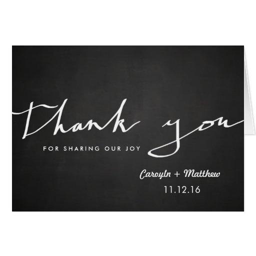 Vintage Chalkboard Thank You Typography Wedding Card Zazzle