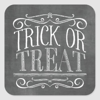 Vintage Chalkboard Trick or Treat Halloween Square Sticker