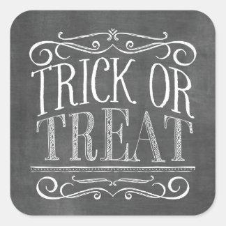 Vintage Chalkboard Trick or Treat Halloween Square Sticker
